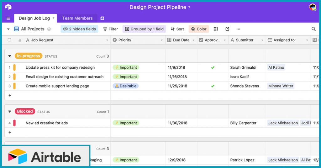 Airtable Design Project Pipeline