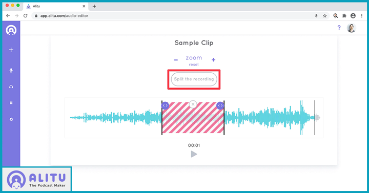 Alitu open source podcast editing software sampling clip
