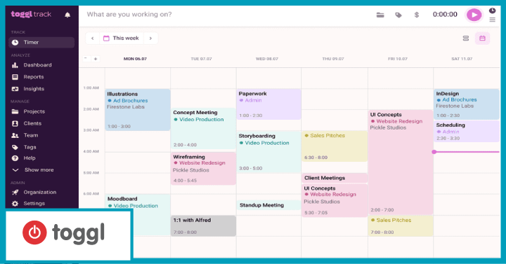 Toggl- best for time tracking and project planning