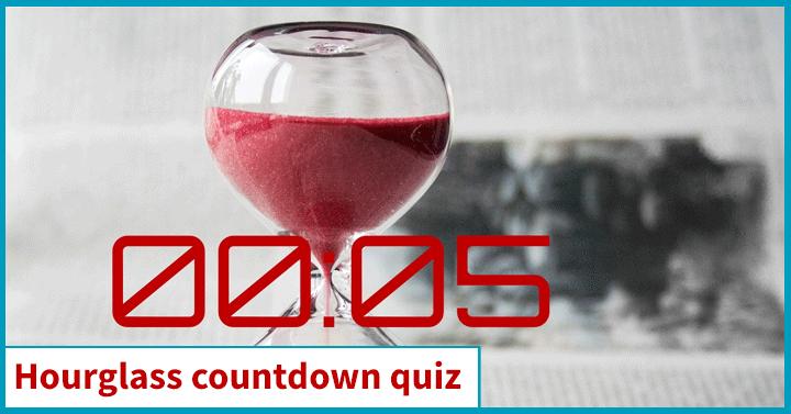 Hourglass countdown quiz